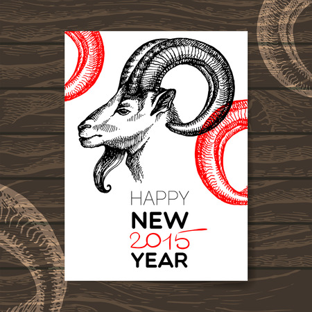 Happy New Year and Merry Christmas card. Hand drawn sketch portrait of goat. Vector illustration Vector