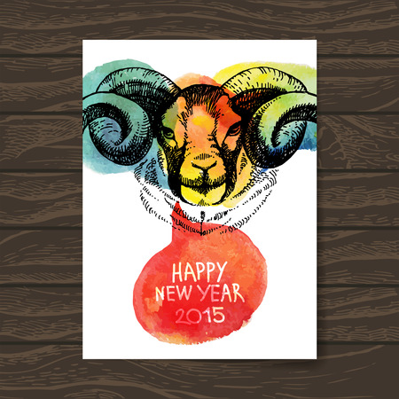Happy New Year and Merry Christmas card. Watercolor hand drawn sketch portrait of sheep. Vector illustration Vector