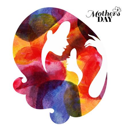 Silueta madre de la acuarela con su bebé. Tarjeta de Feliz Día de las Madres. Ilustración del vector con hermosa mujer y niño Foto de archivo - 34660701