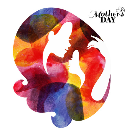 daughter: Watercolor mother silhouette with her baby. Card of Happy Mothers Day. Vector illustration with beautiful woman and child