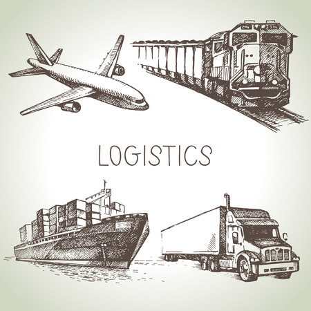 ship parcel: Hand drawn logistics and delivery sketch icons set. Vector illustration