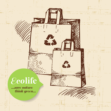 Sketch ecology vintage background. Hand drawn vector illustration Vector