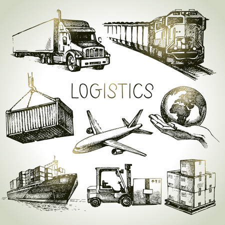 運輸: 手工繪製的物流配送草圖圖標設置。矢量插圖