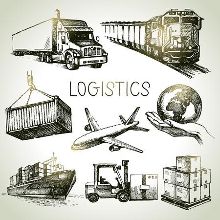 transportes: Logística dibujados a mano y los iconos de croquis de entrega establecidos. Ilustración vectorial