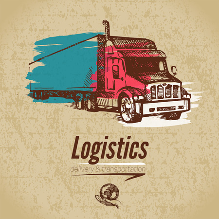 Sketch logistics and delivery poster. Cardboard background. Hand drawn vector illustration