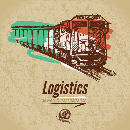 boxcar train: Sketch logistics and delivery poster. Cardboard background. Hand drawn vector illustration