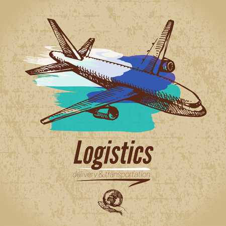 haulage: Sketch logistics and delivery poster. Cardboard background. Hand drawn vector illustration