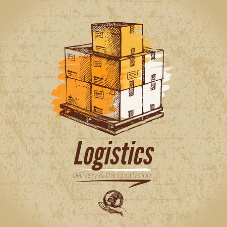 global logistics: Sketch logistics and delivery poster. Cardboard background. Hand drawn vector illustration