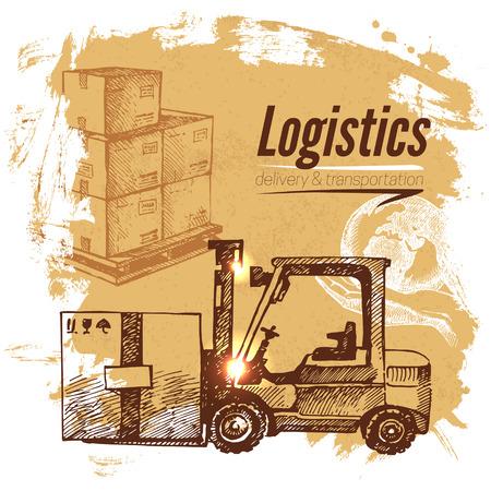 car loader: Sketch logistics and delivery background. Hand drawn vector illustration