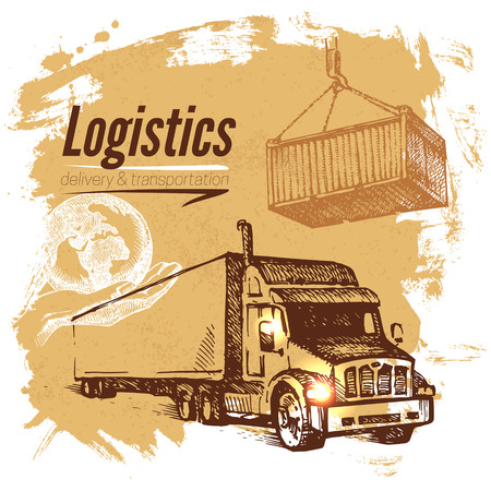 weighted: Sketch logistics and delivery background. Hand drawn vector illustration