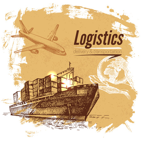 Sketch logistics and delivery background. Hand drawn vector illustration