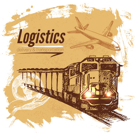 boxcar train: Sketch logistics and delivery background. Hand drawn vector illustration