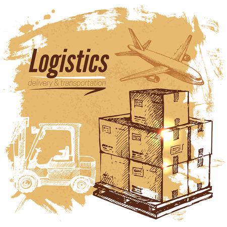 Schets logistiek en levering achtergrond. Hand getrokken vector illustratie