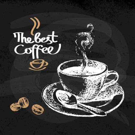 Hand drawn sketch vintage coffee background. Vector illustration. Menu design for cafe and restaurant