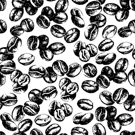granos de cafe: Dibujado a mano los granos de café del bosquejo de la vendimia sin patrón. Ilustración del vector. Antecedentes para el café y el menú del restaurante de diseño