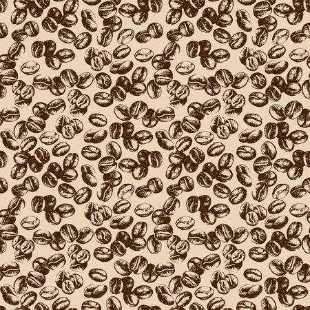 Hand drawn sketch vintage coffee beans seamless pattern. Vector illustration. Background for cafe and restaurant menu design Illustration