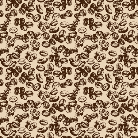 Hand drawn sketch vintage coffee beans seamless pattern. Vector illustration. Background for cafe and restaurant menu design Ilustração