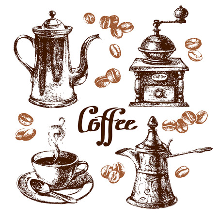 coffee mill: Hand drawn sketch vintage coffee set. Vector illustration. Menu design for cafe and restaurant Illustration