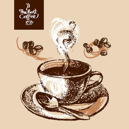 Hand drawn sketch vintage coffee background. Vector illustration. Menu design for cafe and restaurant Stock Vector - 34661081