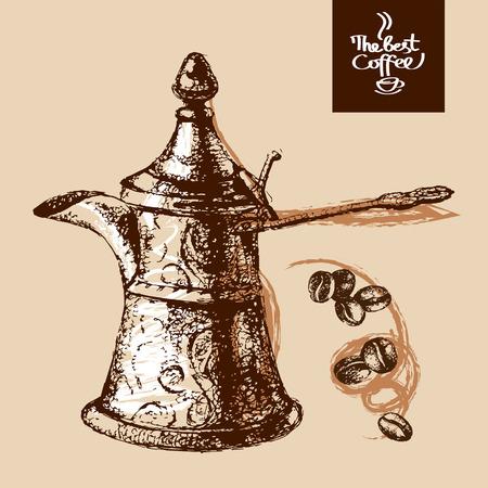 cezve: Hand drawn sketch vintage coffee background. Vector illustration. Menu design for cafe and restaurant
