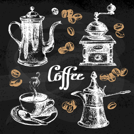coffee mill: Hand drawn sketch coffee set. Vector illustration. Chalkboard menu design for cafe and restaurant Illustration