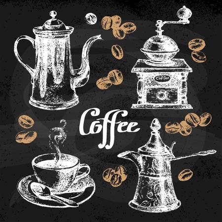 Hand getrokken schets koffie set. Vector illustratie. Krijtbord menu ontwerp voor cafe en restaurant Stock Illustratie