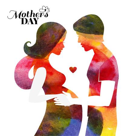 sorriso donna: Acquerello incinta bella silhouette di donna con il marito. Carta di Happy Mothers Day. Illustrazione vettoriale