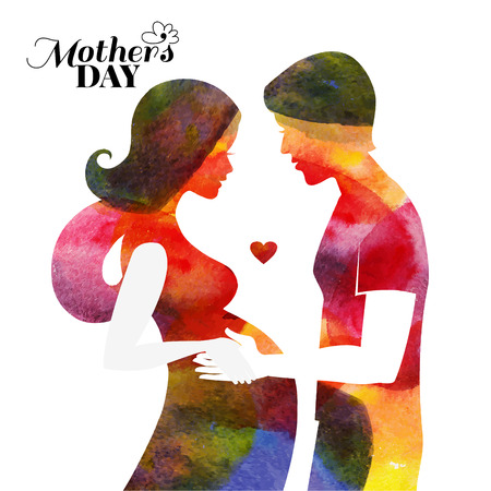 Watercolor pregnant beautiful woman silhouette with her husband. Card of Happy Mothers Day. Vector illustration
