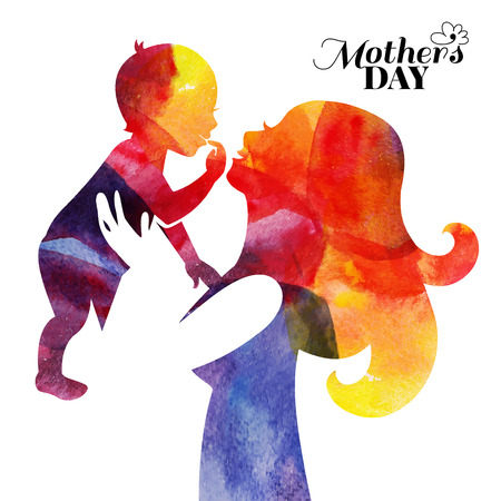 mom daughter: Watercolor mother silhouette with her baby. Card of Happy Mothers Day. Vector illustration with beautiful woman and child