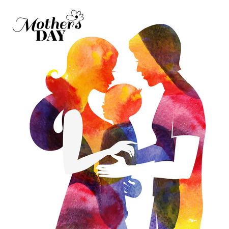 가족. 그녀의 아기와 남편과 수채화 어머니의 실루엣. 해피 어머니의 날의 카드. 아름다운 여자, 남자와 아이 벡터 일러스트 레이 션