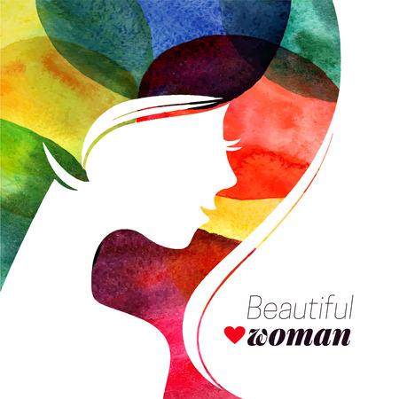 simbolo de la mujer: Agua? Olor hermosa niña. Ilustración vectorial de un salón de belleza Mujer