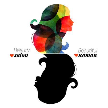 cabeza de mujer: Agua? Olor hermosa ni�a. Ilustraci�n del vector. Concepto de dise�o para el sal�n de belleza de la mujer