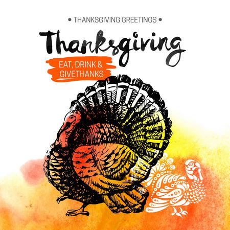 thanksgiving day symbol: Sfondo Giorno del Ringraziamento. Manifesto tipografico. Schizzo disegnato a mano e acquerello illustrazione vettoriale