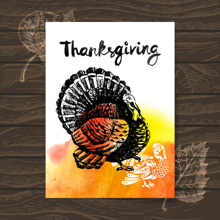 Thanksgiving Day card. Hand drawn sketch and watercolor vector illustration Vector