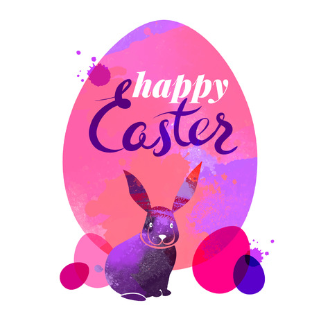 Watercolor Easter card. Vector illustration