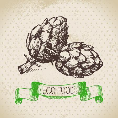Hand getrokken schets artisjok groente. Eco food achtergrond.Vectorillustratie