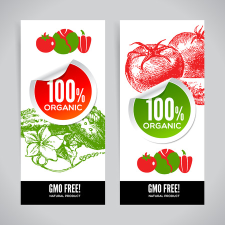 agricultural life: Set of banners with hand drawn sketch vegetable. Eco food backgrounds. Vector illustration