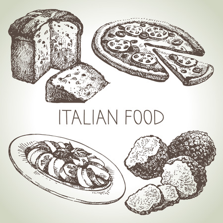 italian pizza: Hand drawn sketch Italian food set.Vector illustration
