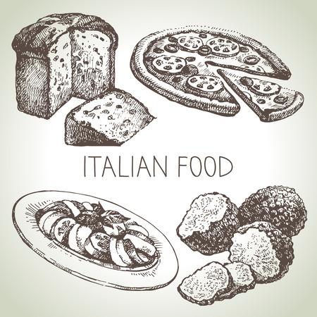 Hand getrokken schets van Italiaans eten set.Vector illustratie