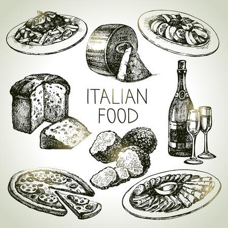 charcutería: Dé el bosquejo exhausto comida italiana set.Vector ilustración Vectores