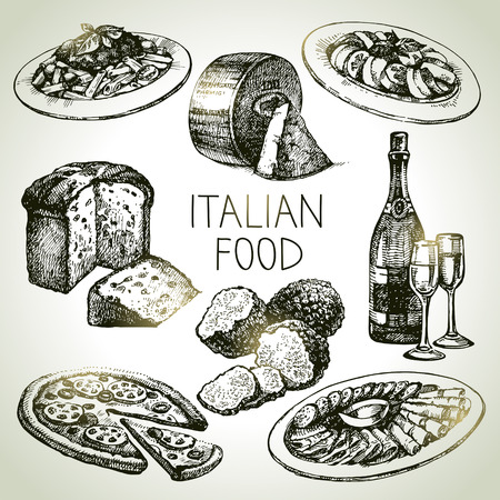 Hand drawn sketch Italian food set.Vector illustration Zdjęcie Seryjne - 34692990