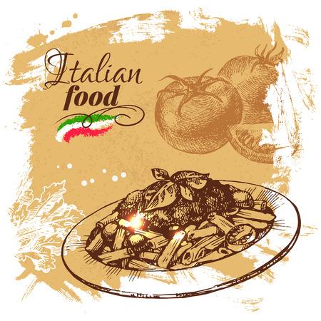 Hand drawn sketch Italian food background.Vector illustration. Restaurant menu design