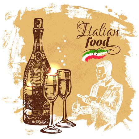italy food: Hand drawn sketch Italian food background.Vector illustration. Restaurant menu design