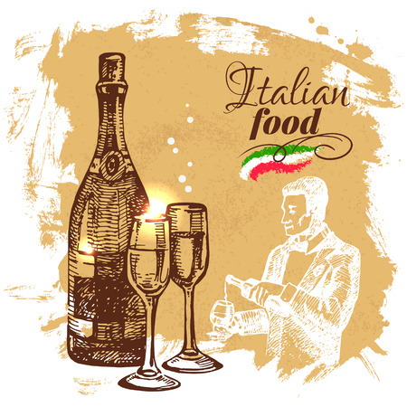 Hand drawn sketch Italian food background.Vector illustration. Restaurant menu design