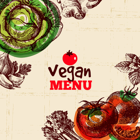 Eco food vegan menu background. Watercolor and hand drawn sketch vegetable. Vector illustration  イラスト・ベクター素材