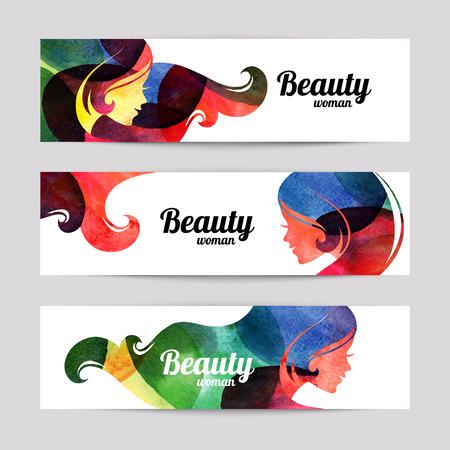 simbolo de la mujer: Conjunto de banderas con acuarela siluetas hermosas niñas. Ilustración del vector del diseño de la mujer del salón de belleza Vectores