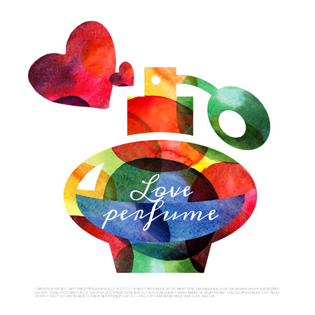 perfume atomizer: Watercolor perfume. Valentine Day card. Vector illustration