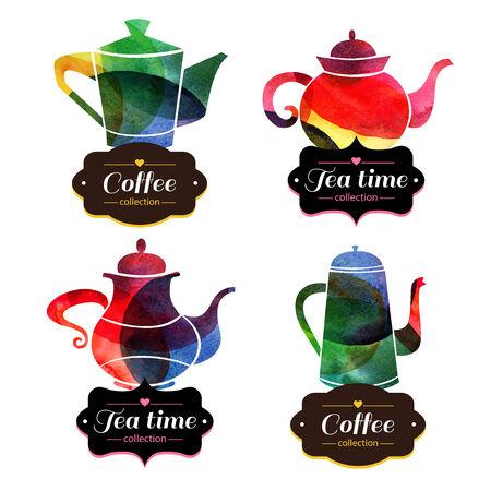 tea kettle: Set of tea and coffee labels. Watercolor emblems. Vector illustration