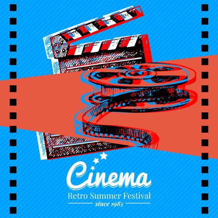 映画映画祭ポスター。手描きスケッチ イラストとベクトルの背景  イラスト・ベクター素材
