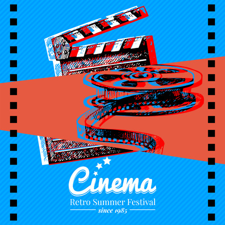 Movie cinema festival poster. Vector background with hand drawn sketch illustrations
